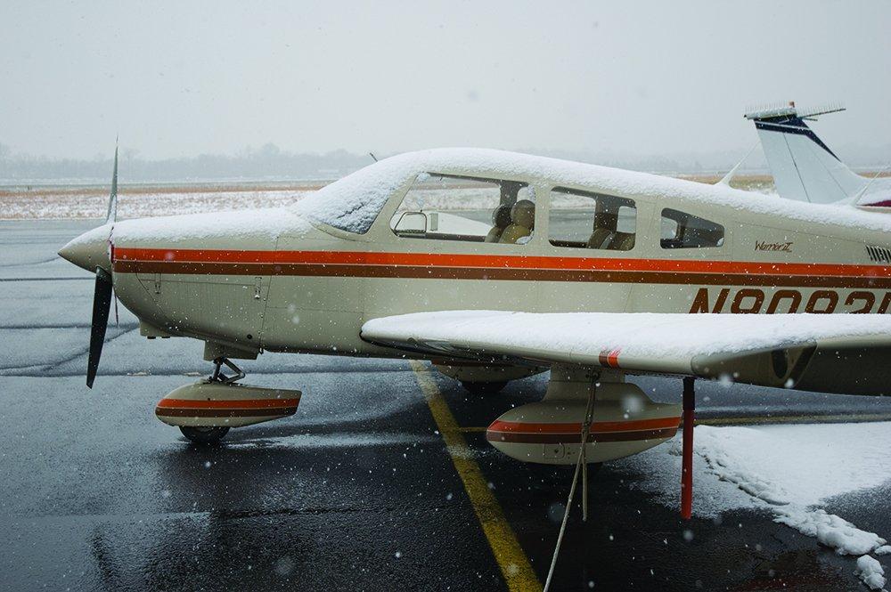 snow on Warrior aircraft