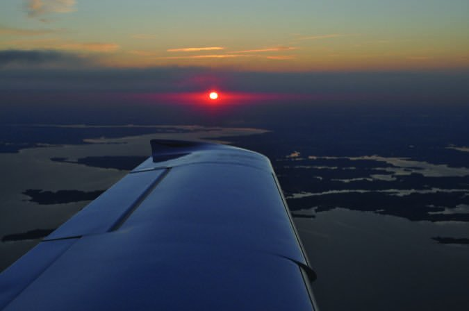 Cirrus Wing at Sunset