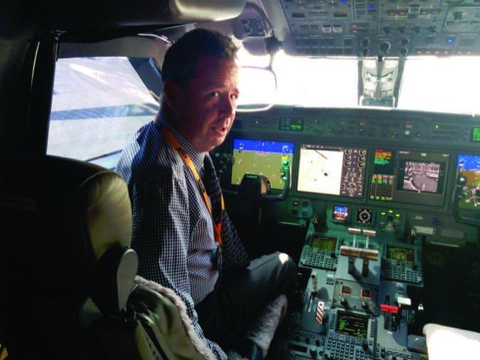 Professional in gulf stream cockpit