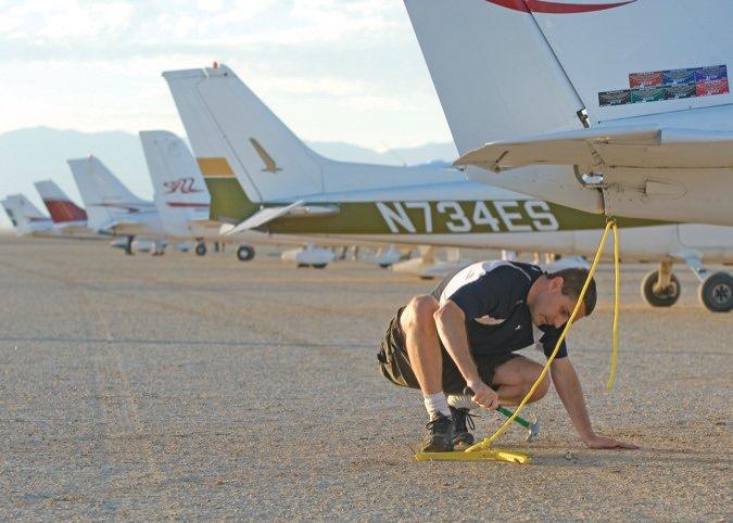 tying down plane