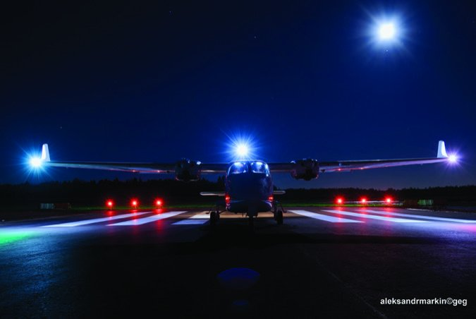 night shot of a cessna