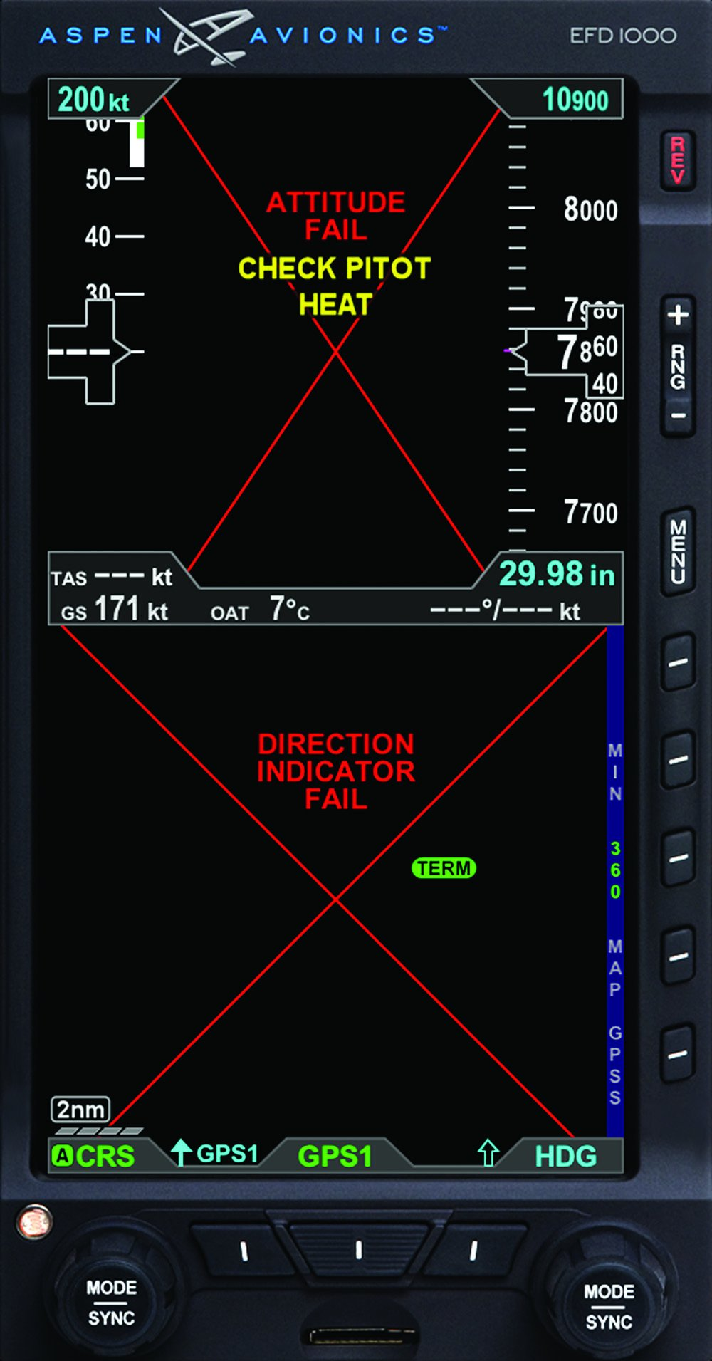 Aspen Avionics pitot input fail