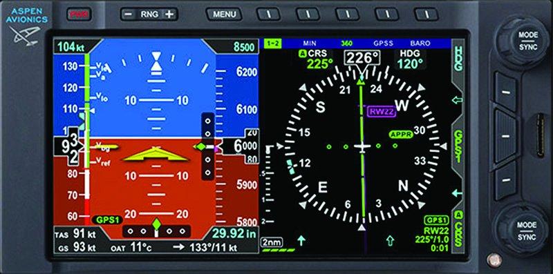 Aspen Avionics Evolution backup display
