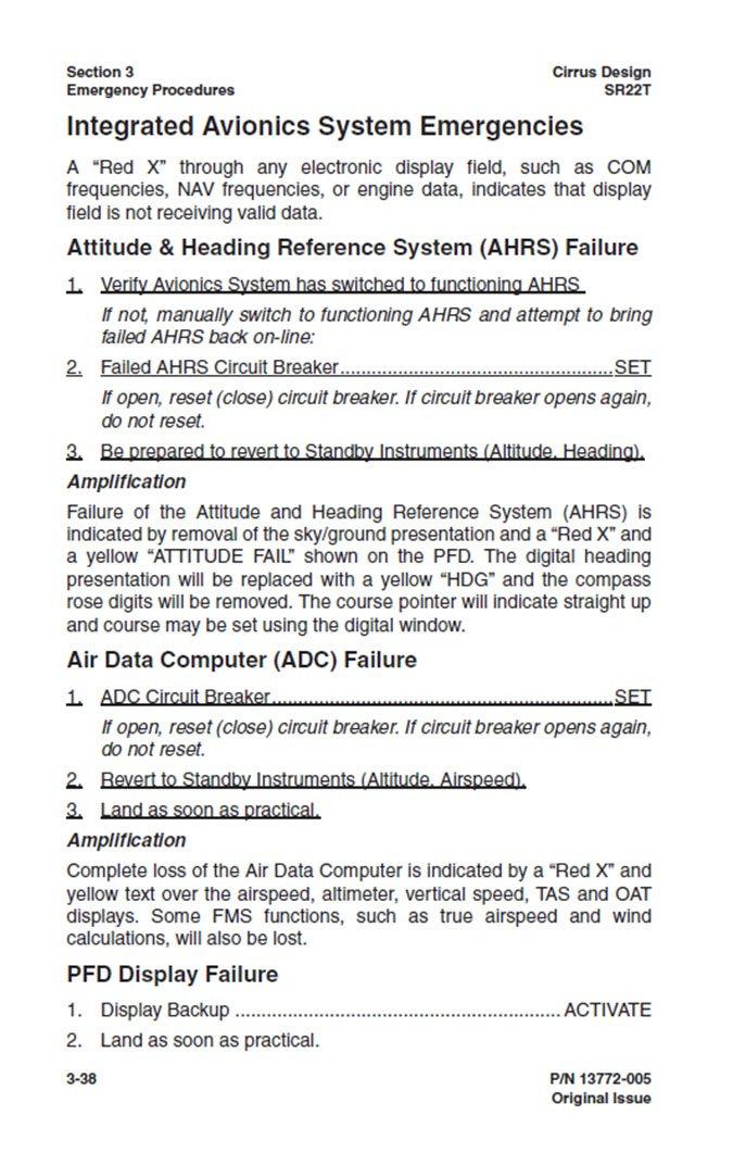 Cirrus avionics emergencies