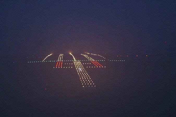 night flying foggy runway